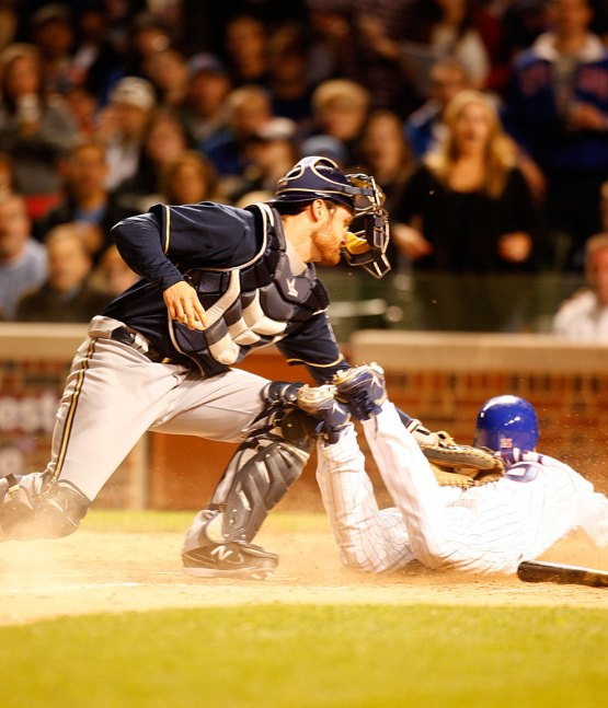 Darwin Barney slides home on June 13, 2011