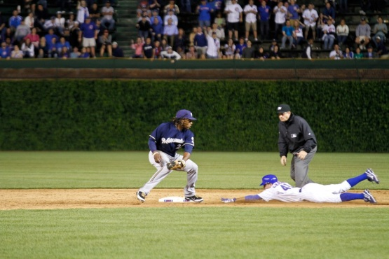 Tony Campana slides into second on June 14, 2011
