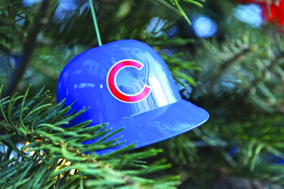 Ceremonies during the first tree lighting for the Cubs at Wrigley Field.