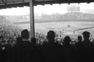 """""""It's the history of it. It's the tradition of it. It's right here in the neighborhood. I mean, it's the Friendly Confines. I go back to Jack Brickhouse, Ernie Banks, Ladies' Day on Friday. It's as close as you're going to get to a church in sports, let's put it that way. If you're going to talk about a place where people convene to take in something unearthly, that's a Cubs fan.""""  — Joe Mantegna, Chicago actor"""